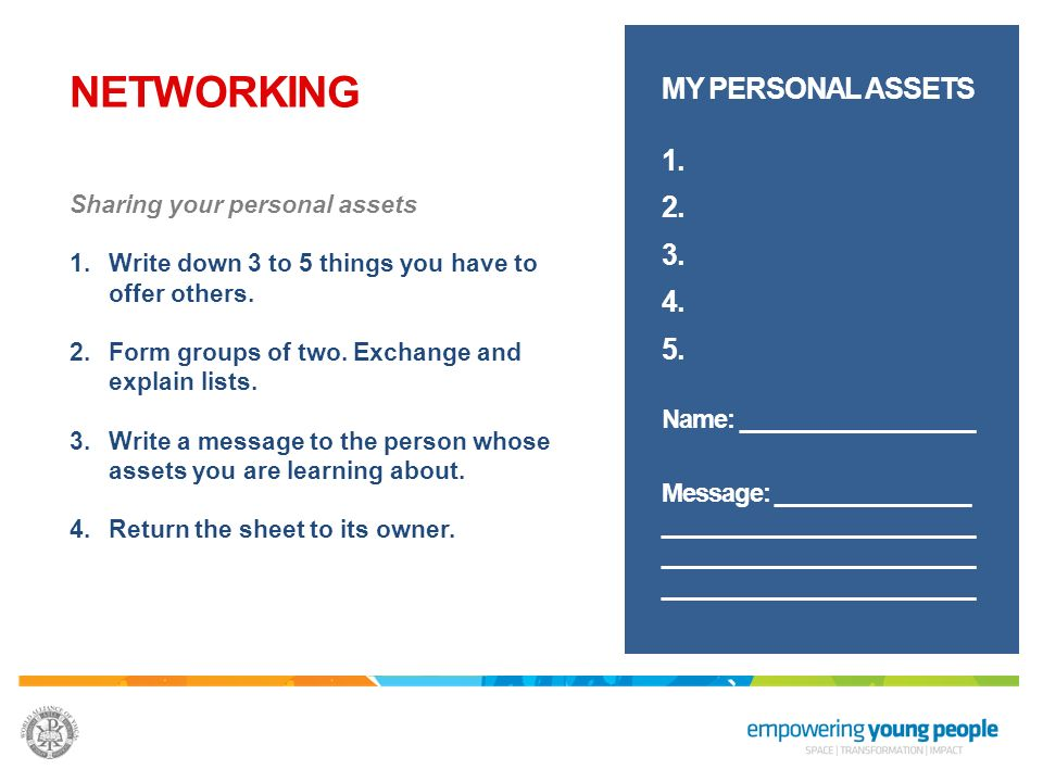 NETWORKING Form small groups of 5 or 6 people Use the Personal Assets worksheet to write down 3 to 5 things you have to offer others.