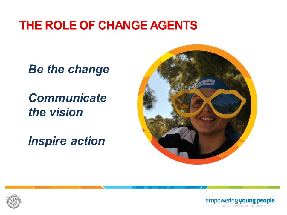 Be the change Communicate the vision Inspire action THE ROLE OF CHANGE AGENTS