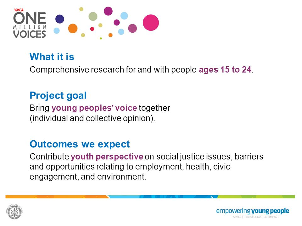 What it is Comprehensive research for and with people ages 15 to 24. Project goal Bring young peoples voice together (individual and collective opinio