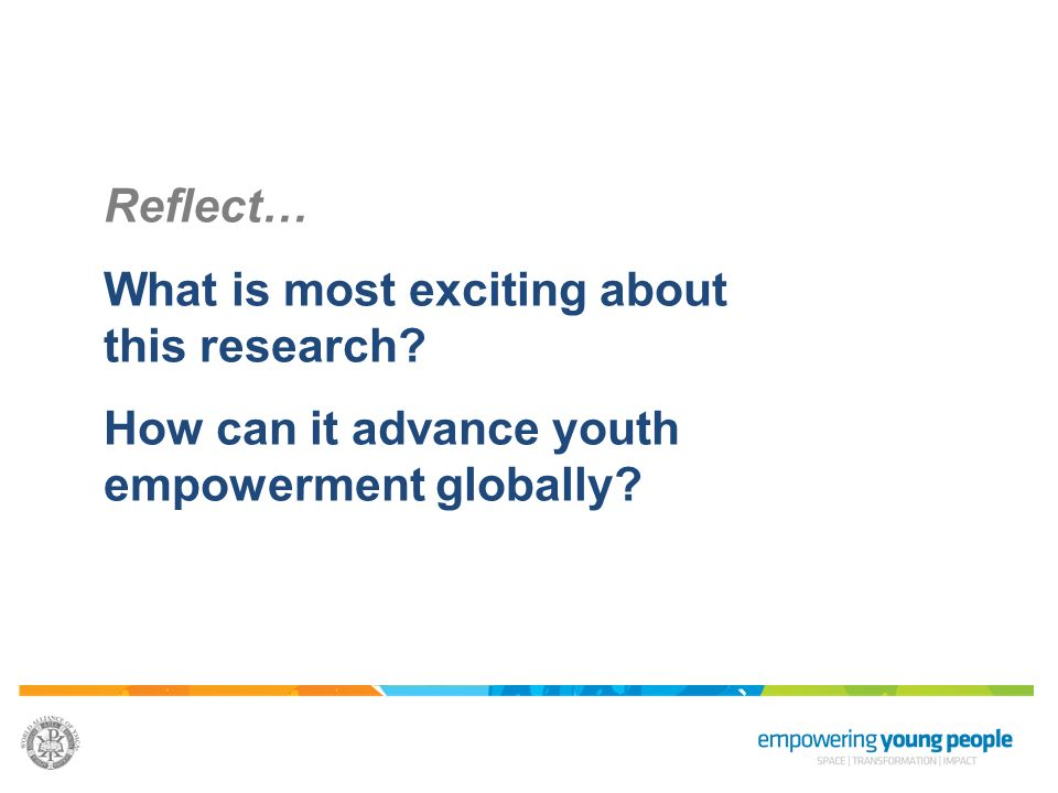 Reflect… What is most exciting about this research? How can it advance youth empowerment globally?