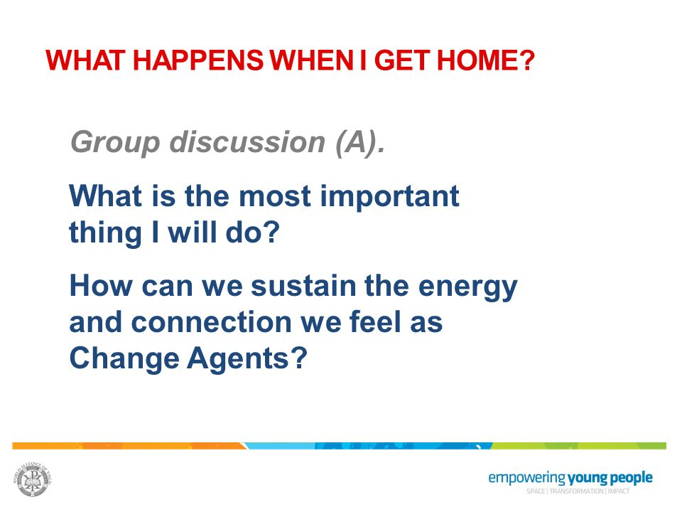 Group discussion (A). What is the most important thing I will do? How can we sustain the energy and connection we feel as Change Agents? WHAT HAPPENS