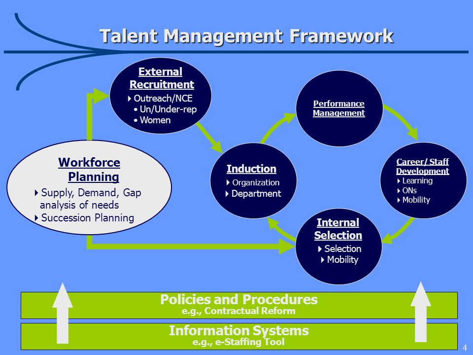 4 Talent Management Framework Induction Organization Department Career/ Staff Development Learning ONs Mobility Internal Selection Selection Mobility