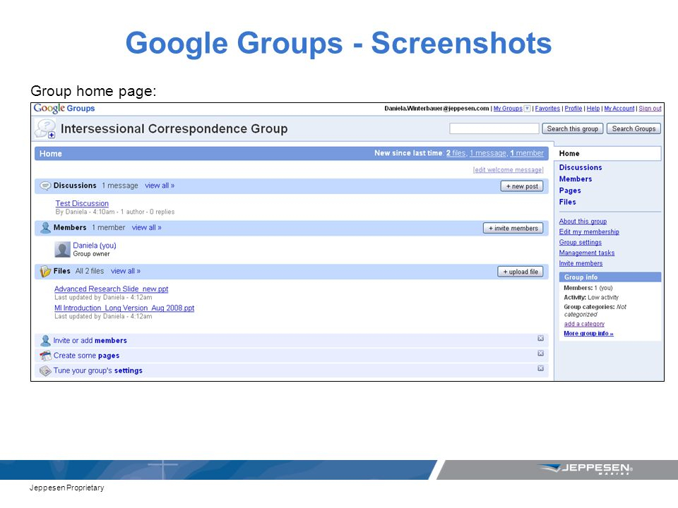 Jeppesen Proprietary Google Groups - Screenshots Group home page: