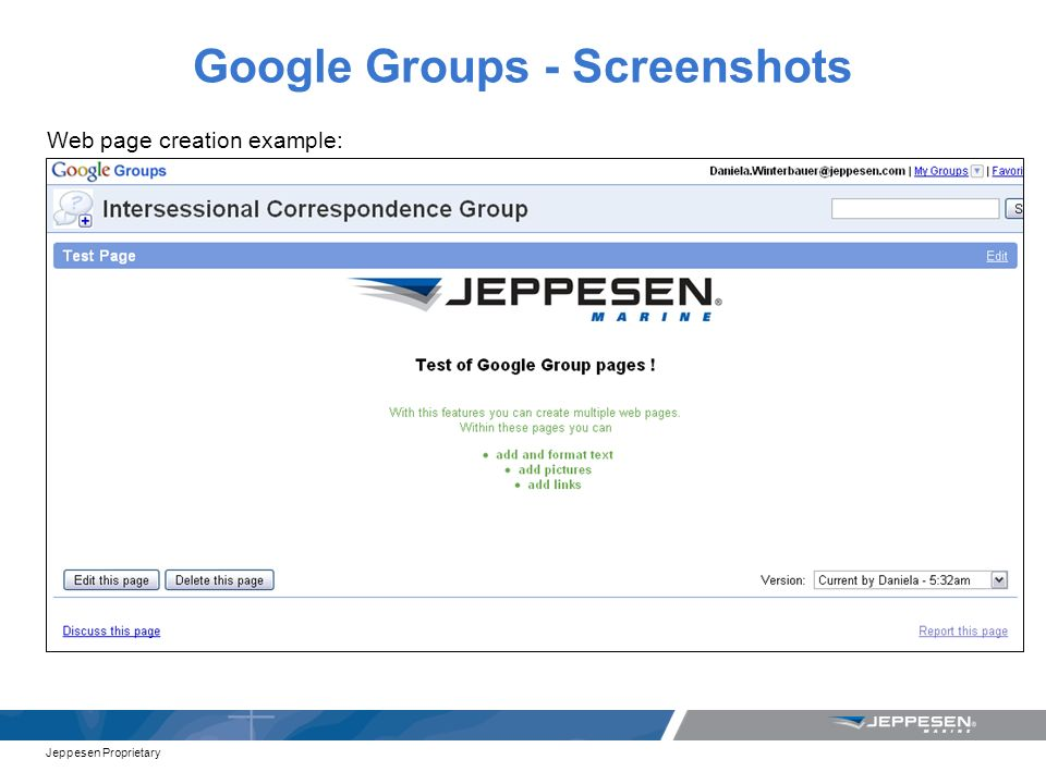 Jeppesen Proprietary Google Groups - Screenshots Web page creation example: