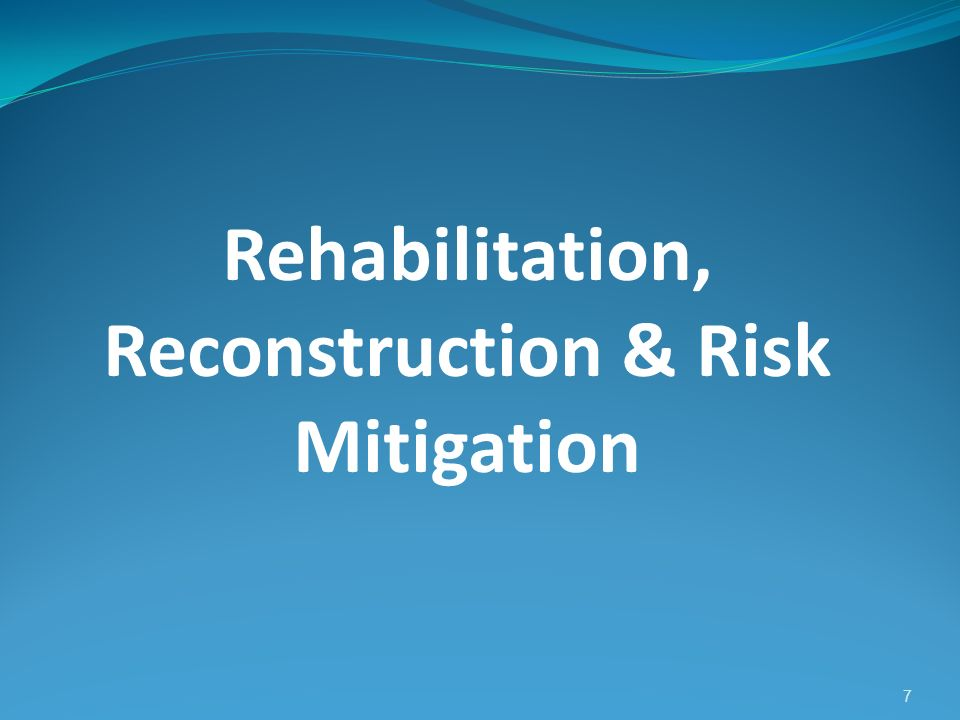 Rehabilitation, Reconstruction & Risk Mitigation 7