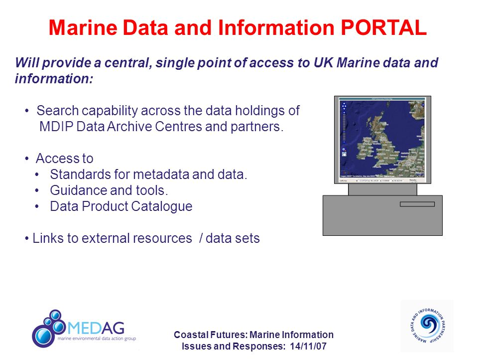 Coastal Futures: Marine Information Issues and Responses: 14/11/07 Marine Data and Information PORTAL Will provide a central, single point of access to UK Marine data and information: Search capability across the data holdings of MDIP Data Archive Centres and partners.