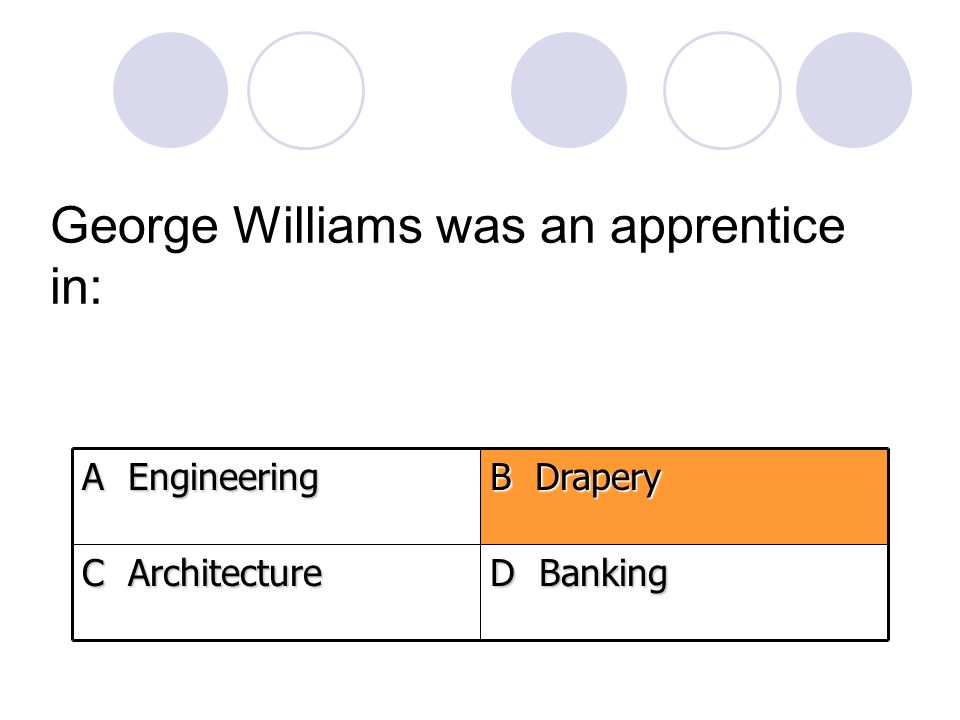 George Williams was an apprentice in: D Banking C Architecture B Drapery A Engineering