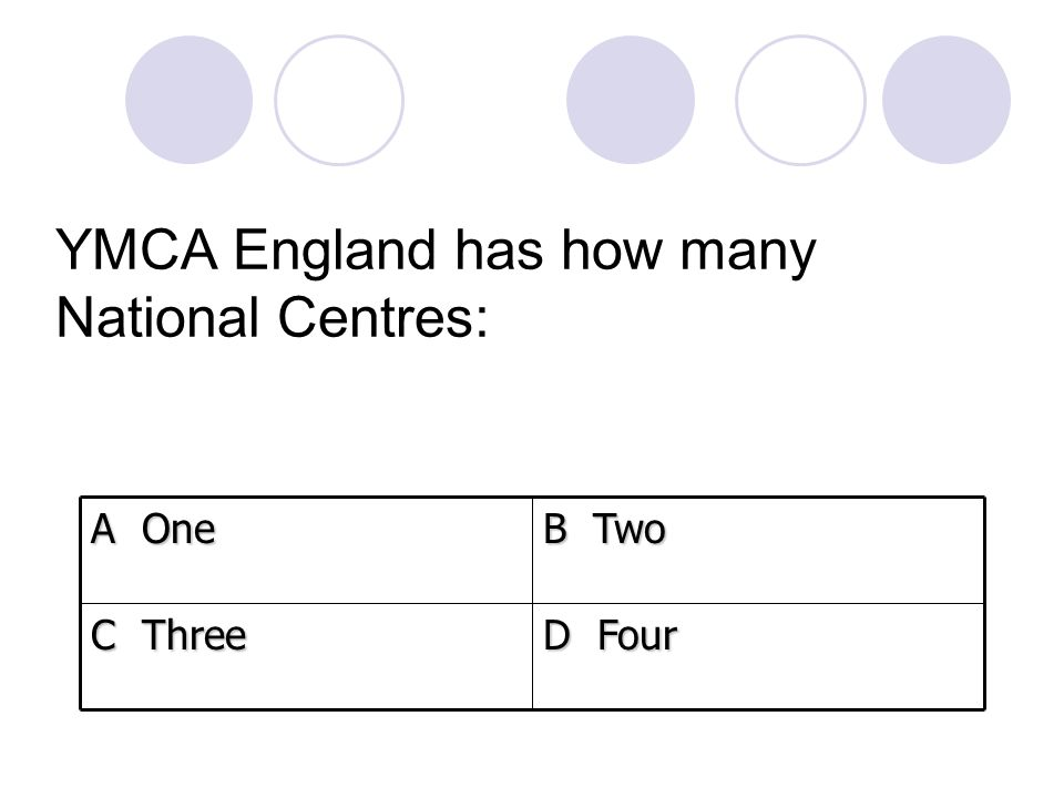 YMCA England has how many National Centres: D Four C Three B Two A One