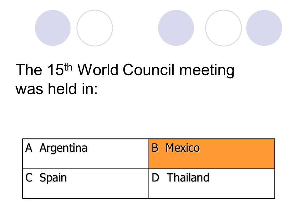 The 15 th World Council meeting was held in: D Thailand C Spain B Mexico A Argentina