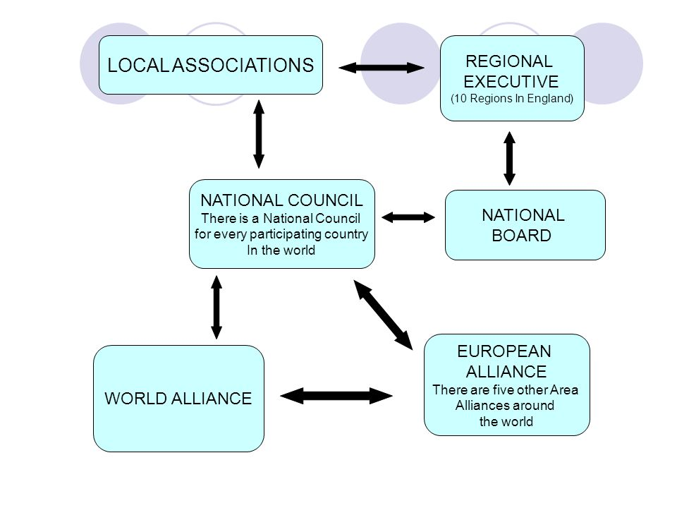 WORLD ALLIANCE EUROPEAN ALLIANCE There are five other Area Alliances around the world LOCAL ASSOCIATIONS NATIONAL COUNCIL There is a National Council