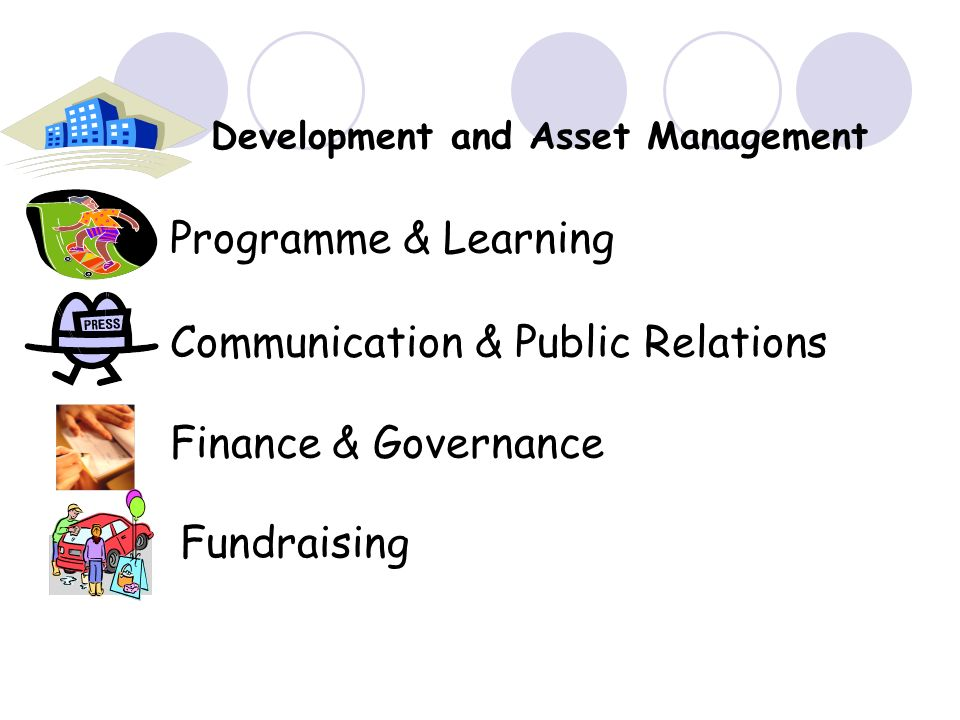 Development and Asset Management Programme & Learning Communication & Public Relations Finance & Governance Fundraising