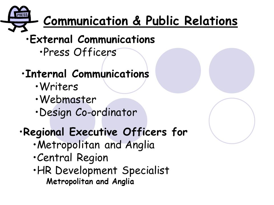 External Communications Press Officers Internal Communications Writers Webmaster Design Co-ordinator Regional Executive Officers for Metropolitan and