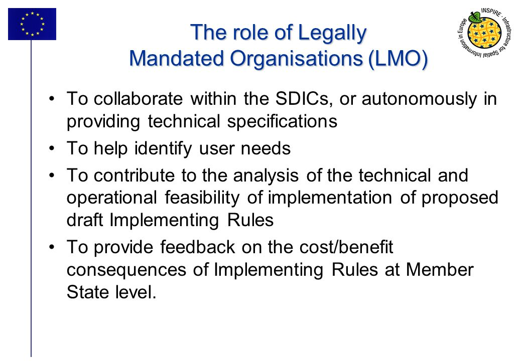 31 The role of Legally Mandated Organisations (LMO) To collaborate within the SDICs, or autonomously in providing technical specifications To help ide