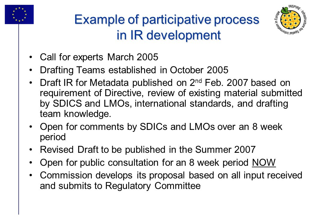 35 Example of participative process in IR development Call for experts March 2005 Drafting Teams established in October 2005 Draft IR for Metadata pub