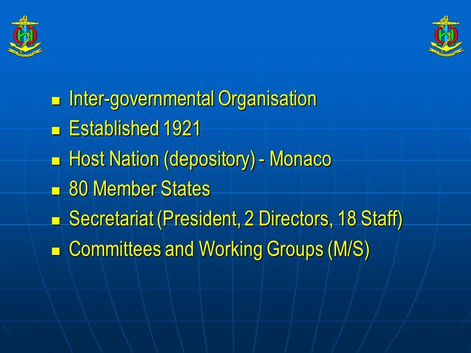 Inter-governmental Organisation Inter-governmental Organisation Established 1921 Established 1921 Host Nation (depository) - Monaco Host Nation (depos