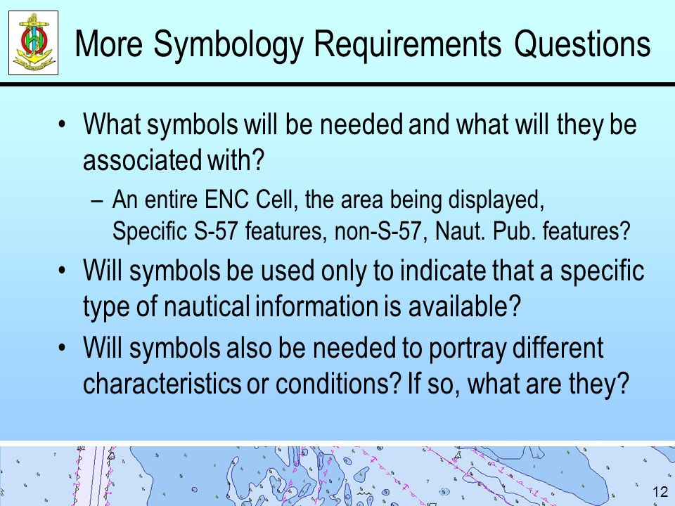 More Symbology Requirements Questions What symbols will be needed and what will they be associated with.
