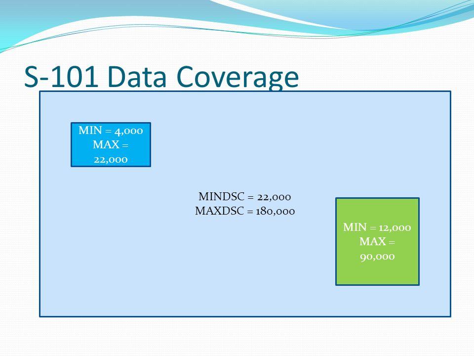 S-101 Data Coverage MINDSC = 22,000 MAXDSC = 180,000 MIN = 12,000 MAX = 90,000 MIN = 4,000 MAX = 22,000