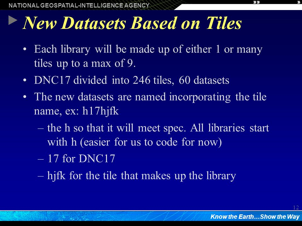 NATIONAL GEOSPATIAL-INTELLIGENCE AGENCY Know the Earth…Show the Way 12 New Datasets Based on Tiles Each library will be made up of either 1 or many tiles up to a max of 9.