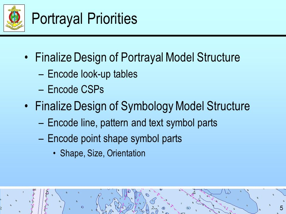 Portrayal Priorities Finalize Design of Portrayal Model Structure –Encode look-up tables –Encode CSPs Finalize Design of Symbology Model Structure –Encode line, pattern and text symbol parts –Encode point shape symbol parts Shape, Size, Orientation 5