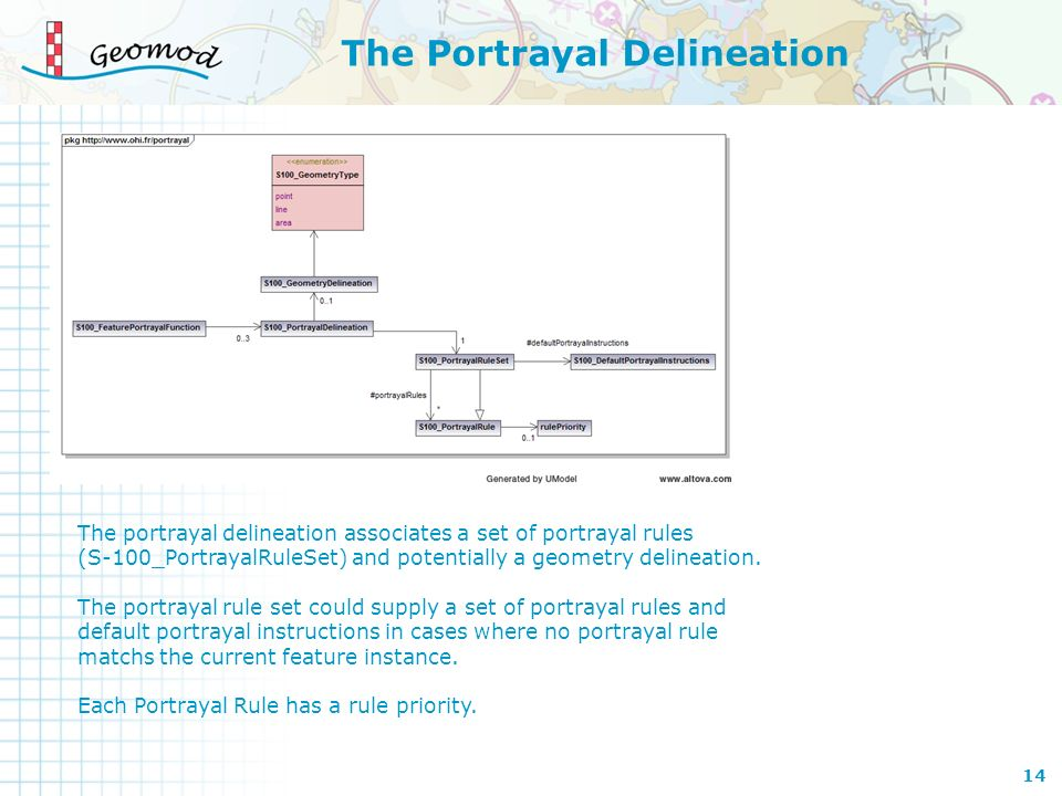 The Portrayal Delineation The portrayal delineation associates a set of portrayal rules (S-100_PortrayalRuleSet) and potentially a geometry delineatio