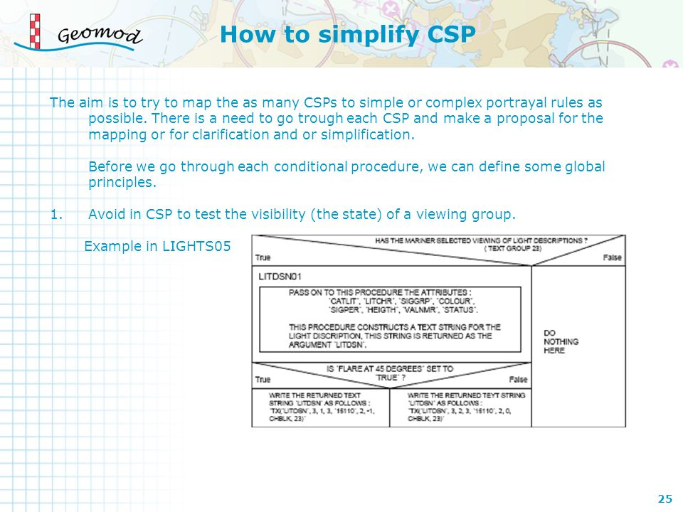 How to simplify CSP The aim is to try to map the as many CSPs to simple or complex portrayal rules as possible. There is a need to go trough each CSP