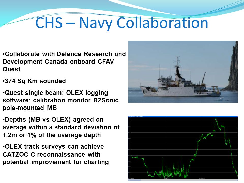 CHS – Navy Collaboration Collaborate with Defence Research and Development Canada onboard CFAV Quest 374 Sq Km sounded Quest single beam; OLEX logging