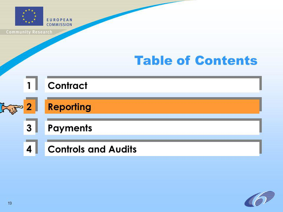 19 1 1 Contract 2 2 Reporting 3 3 Payments 4 4 Controls and Audits Table of Contents