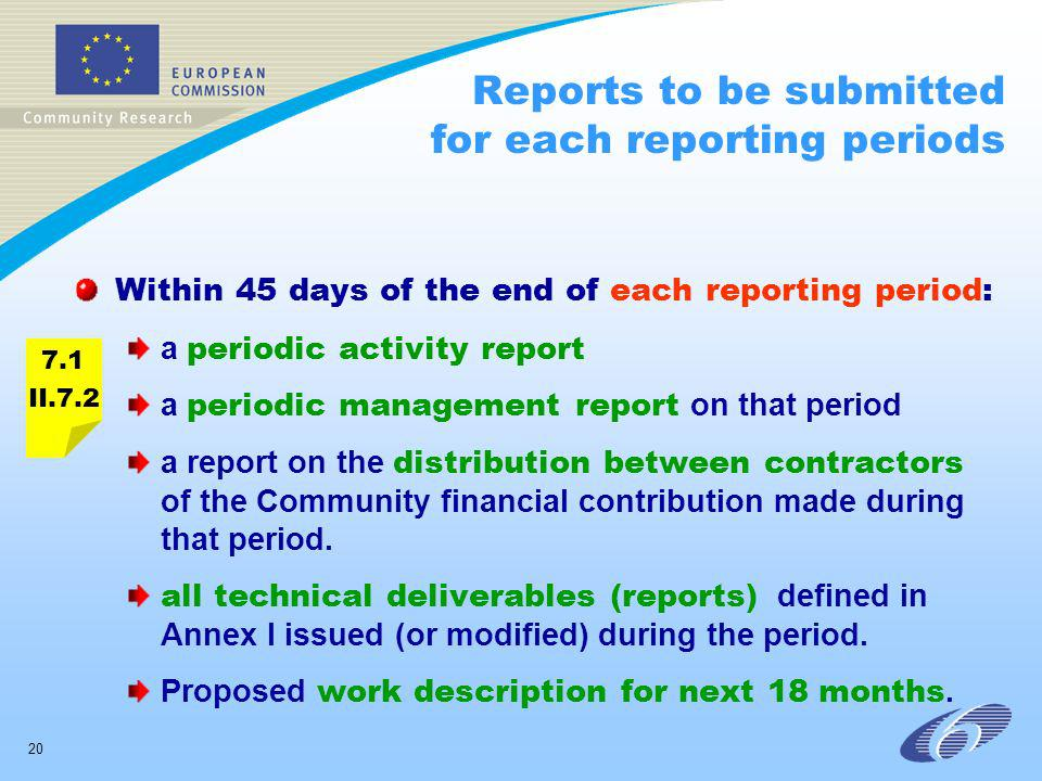 20 Reports to be submitted for each reporting periods Within 45 days of the end of each reporting period: a periodic activity report a periodic manage