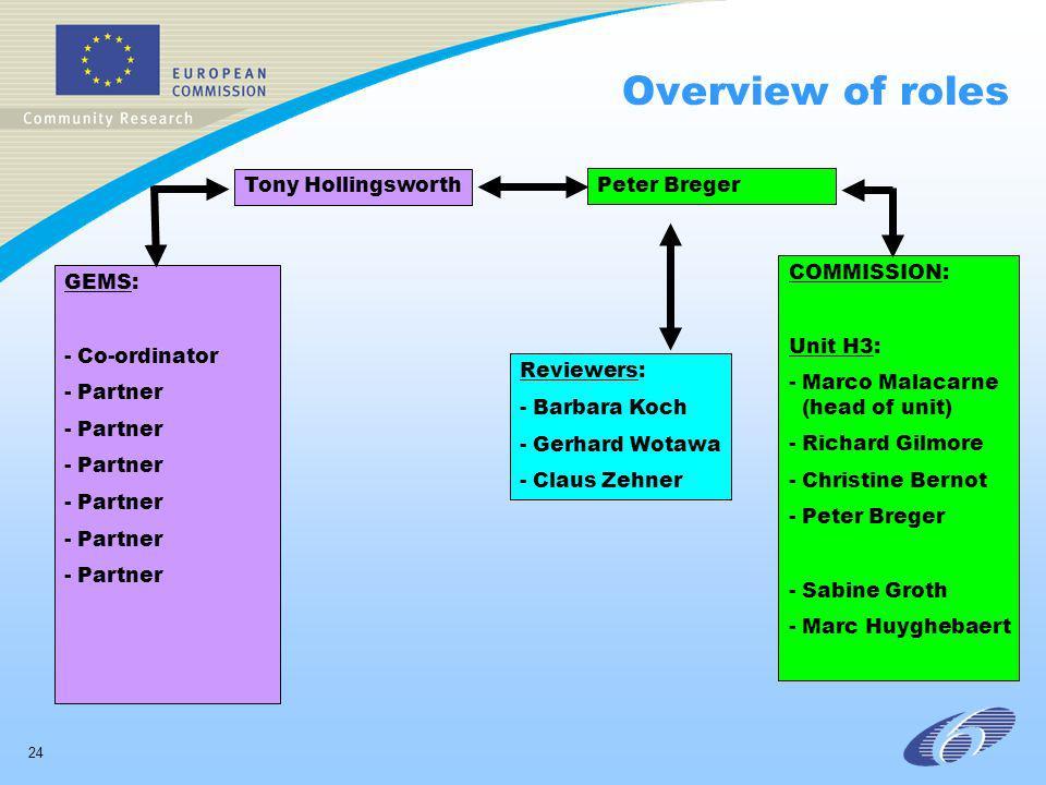 24 Overview of roles GEMS: - Co-ordinator - Partner Tony Hollingsworth Peter Breger Reviewers: - Barbara Koch - Gerhard Wotawa - Claus Zehner COMMISSION: Unit H3: - Marco Malacarne (head of unit) - Richard Gilmore - Christine Bernot - Peter Breger - Sabine Groth - Marc Huyghebaert