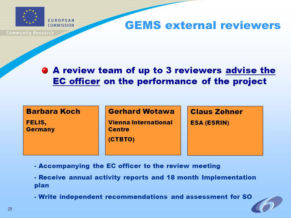 25 GEMS external reviewers A review team of up to 3 reviewers advise the EC officer on the performance of the project Barbara Koch FELIS, Germany Gerh