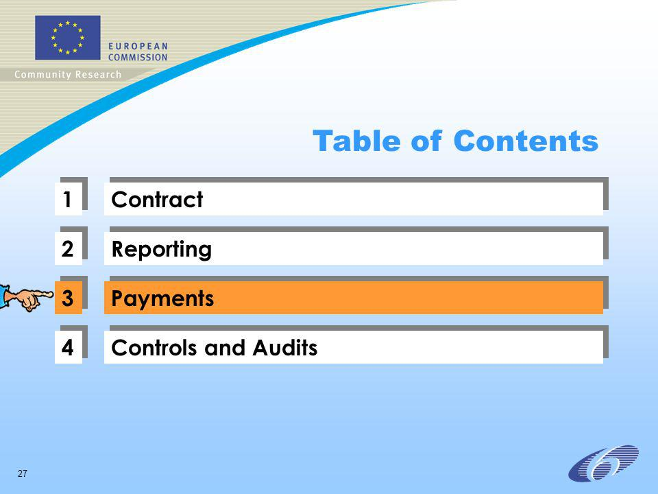 27 1 1 Contract 2 2 Reporting 3 3 Payments 4 4 Controls and Audits Table of Contents