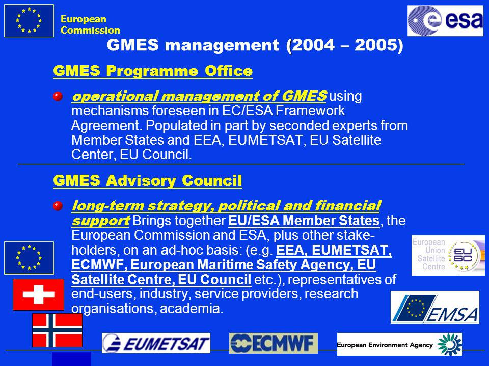 European Commission GMES ( GMES management (2004 – 2005) GMES Programme Office operational management of GMES using mechanisms foreseen in EC/ESA Framework Agreement.