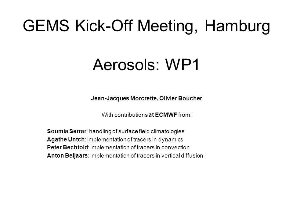 GEMS Kick-Off Meeting, Hamburg Aerosols: WP1 Jean-Jacques Morcrette, Olivier Boucher With contributions at ECMWF from: Soumia Serrar: handling of surf