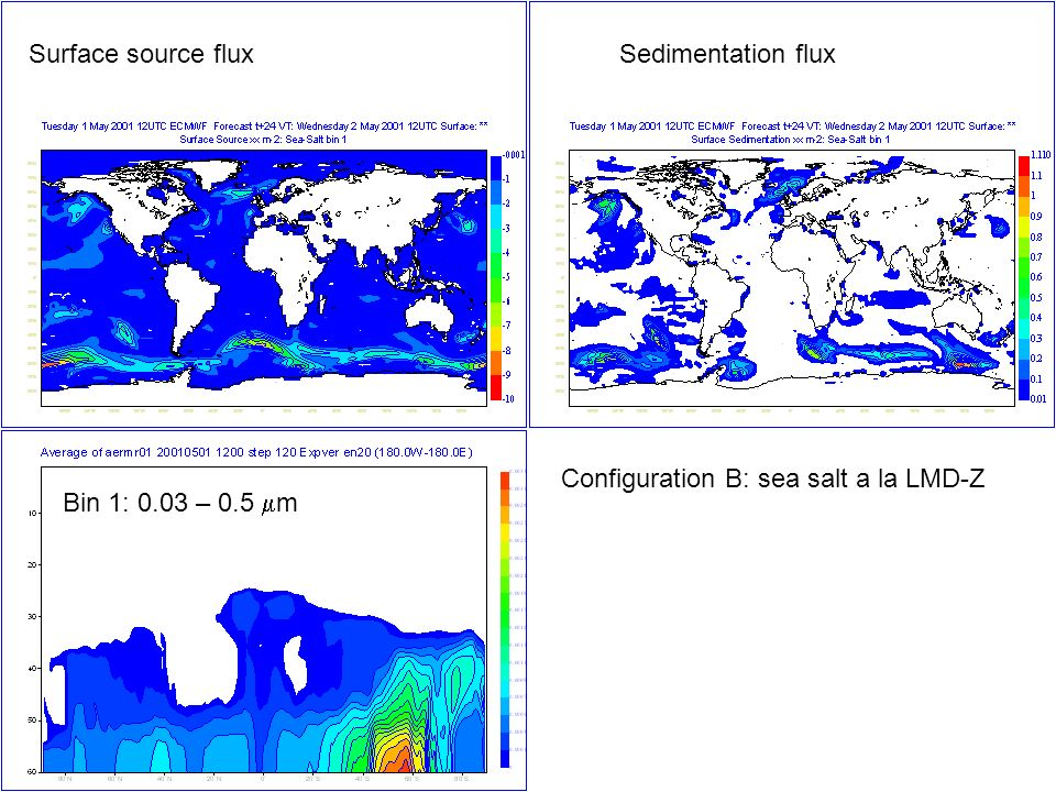 Bin 1: 0.03 – 0.5 m Surface source fluxSedimentation flux Configuration B: sea salt a la LMD-Z