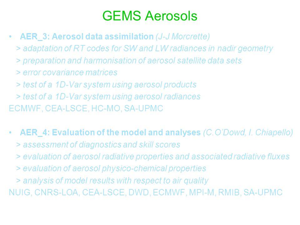 GEMS Aerosols AER_3: Aerosol data assimilation (J-J Morcrette) > adaptation of RT codes for SW and LW radiances in nadir geometry > preparation and ha
