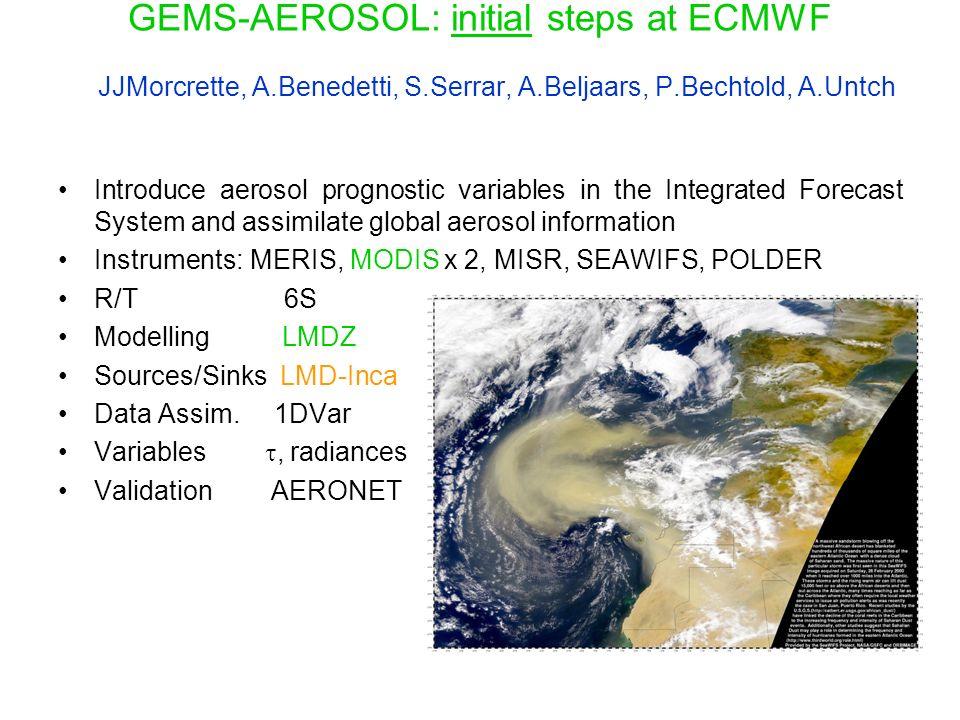 GEMS-AEROSOL: initial steps at ECMWF JJMorcrette, A.Benedetti, S.Serrar, A.Beljaars, P.Bechtold, A.Untch Introduce aerosol prognostic variables in the