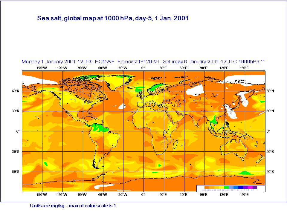 Desert Dust, global map at 1000 hPa, day-5, 1 Jan. 2001 Units are mg/kg – max of color scale is 1