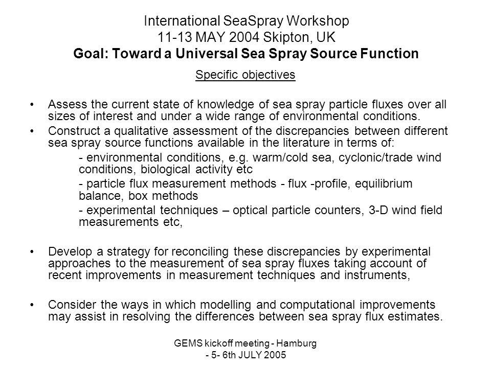 GEMS kickoff meeting - Hamburg - 5- 6th JULY 2005 International SeaSpray Workshop 11-13 MAY 2004 Skipton, UK Goal: Toward a Universal Sea Spray Source