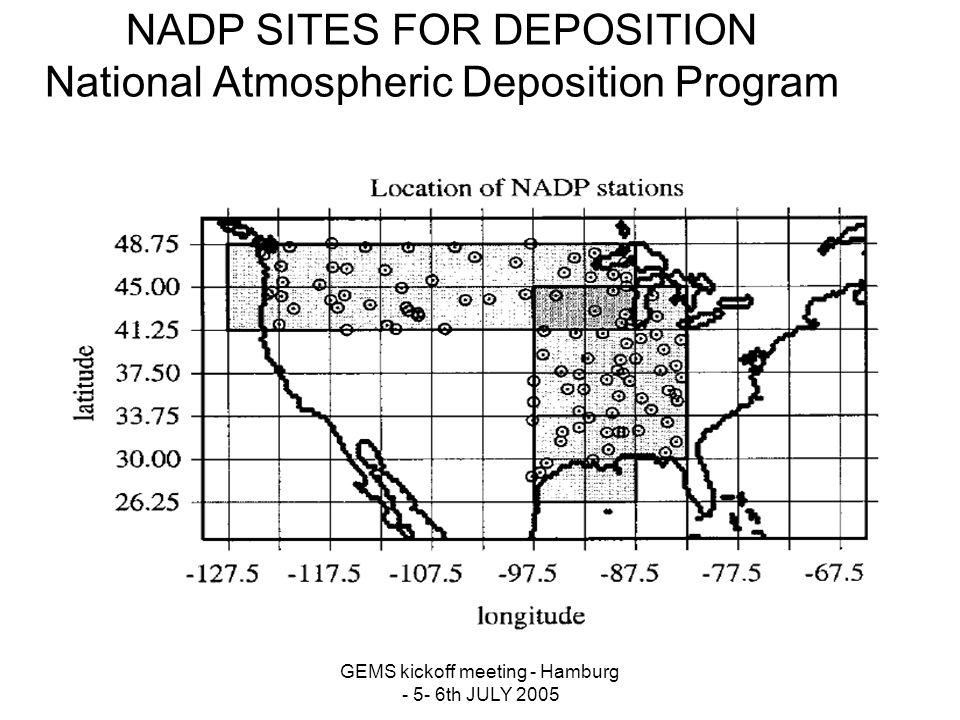 GEMS kickoff meeting - Hamburg - 5- 6th JULY 2005 NADP SITES FOR DEPOSITION National Atmospheric Deposition Program