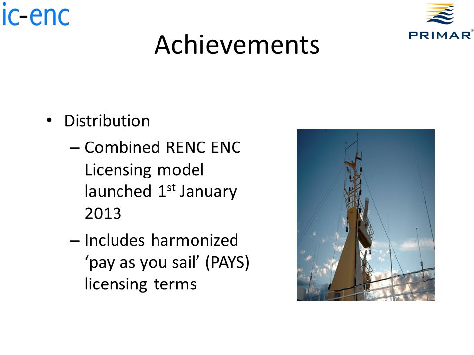 Achievements Distribution – Combined RENC ENC Licensing model launched 1 st January 2013 – Includes harmonized pay as you sail (PAYS) licensing terms
