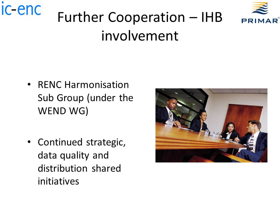 Further Cooperation – IHB involvement RENC Harmonisation Sub Group (under the WEND WG) Continued strategic, data quality and distribution shared initiatives