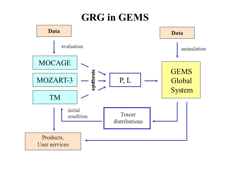Data MOCAGE TM MOZART-3 Products, User services P, L GEMS Global System Data Tracer distributions synthesis evaluation assimilation initial condition