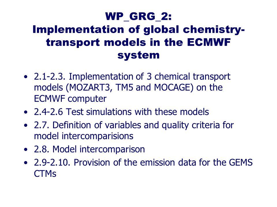WP_GRG_2: Implementation of global chemistry- transport models in the ECMWF system 2.1-2.3.