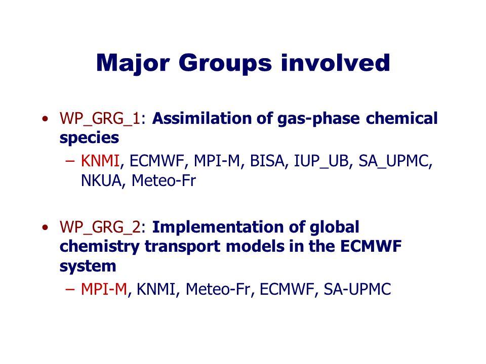 Major Groups involved WP_GRG_1: Assimilation of gas-phase chemical species –KNMI, ECMWF, MPI-M, BISA, IUP_UB, SA_UPMC, NKUA, Meteo-Fr WP_GRG_2: Implementation of global chemistry transport models in the ECMWF system –MPI-M, KNMI, Meteo-Fr, ECMWF, SA-UPMC