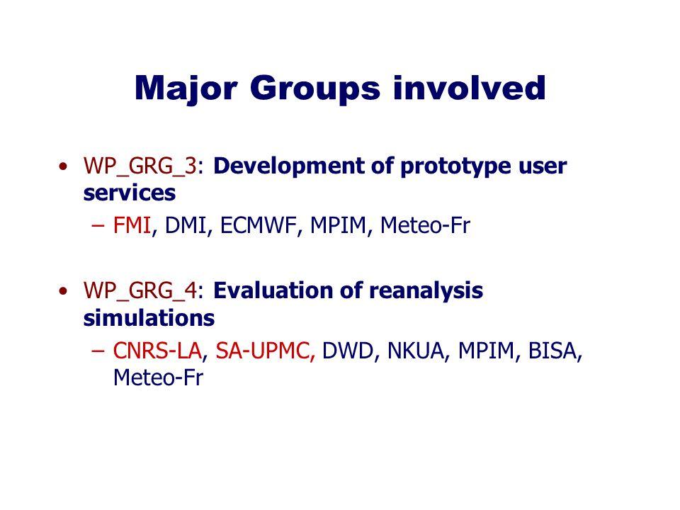 Major Groups involved WP_GRG_3: Development of prototype user services –FMI, DMI, ECMWF, MPIM, Meteo-Fr WP_GRG_4: Evaluation of reanalysis simulations –CNRS-LA, SA-UPMC, DWD, NKUA, MPIM, BISA, Meteo-Fr