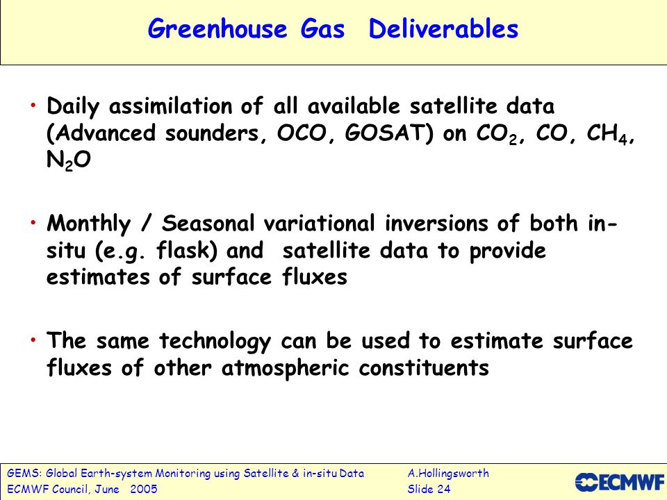 GEMS: Global Earth-system Monitoring using Satellite & in-situ DataA.Hollingsworth ECMWF Council, June 2005Slide 24 Greenhouse Gas Deliverables Daily