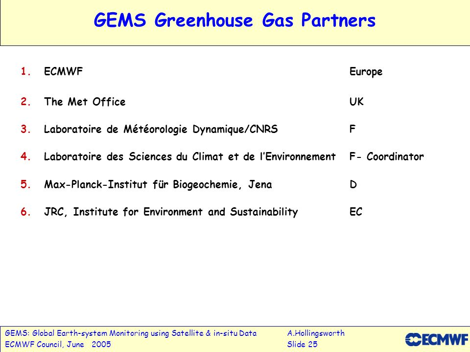 GEMS: Global Earth-system Monitoring using Satellite & in-situ DataA.Hollingsworth ECMWF Council, June 2005Slide 25 GEMS Greenhouse Gas Partners 1.ECMWFEurope 2.The Met OfficeUK 3.Laboratoire de Météorologie Dynamique/CNRSF 4.Laboratoire des Sciences du Climat et de lEnvironnement F- Coordinator 5.Max-Planck-Institut für Biogeochemie, JenaD 6.JRC, Institute for Environment and SustainabilityEC