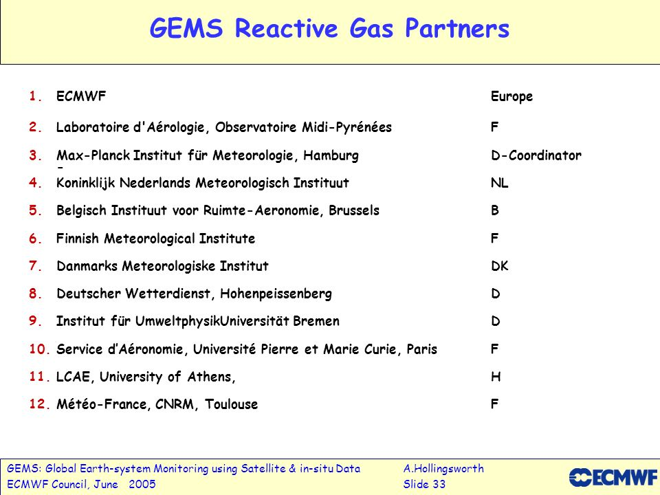 GEMS: Global Earth-system Monitoring using Satellite & in-situ DataA.Hollingsworth ECMWF Council, June 2005Slide 33 GEMS Reactive Gas Partners 1.ECMWFEurope 2.Laboratoire d Aérologie, Observatoire Midi-PyrénéesF 3.Max-Planck Institut für Meteorologie, HamburgD-Coordinator - 4.Koninklijk Nederlands Meteorologisch InstituutNL 5.Belgisch Instituut voor Ruimte-Aeronomie, BrusselsB 6.Finnish Meteorological InstituteF 7.Danmarks Meteorologiske InstitutDK 8.Deutscher Wetterdienst, HohenpeissenbergD 9.Institut für UmweltphysikUniversität BremenD 10.Service dAéronomie, Université Pierre et Marie Curie, ParisF 11.LCAE, University of Athens, H 12.Météo-France, CNRM, ToulouseF
