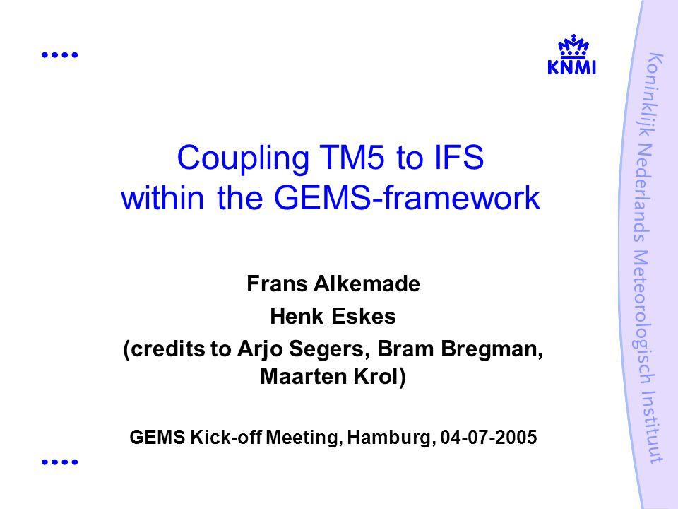 Coupling TM5 to IFS within the GEMS-framework Frans Alkemade Henk Eskes (credits to Arjo Segers, Bram Bregman, Maarten Krol) GEMS Kick-off Meeting, Ha