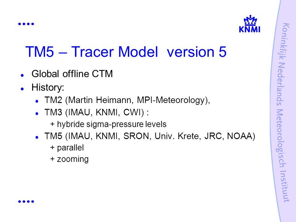 TM5 – Tracer Model version 5 Global offline CTM History: TM2 (Martin Heimann, MPI-Meteorology), TM3 (IMAU, KNMI, CWI) : + hybride sigma-pressure level
